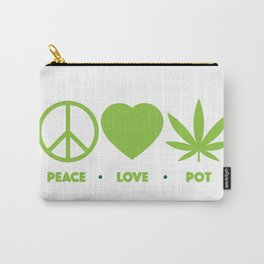 Peace Love (Legal) Pot Green Carry-All Pouch