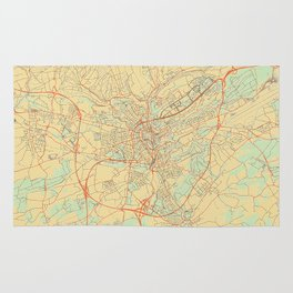 Luxembourg Map Retro Rug