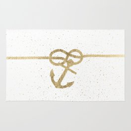 Elegant faux gold white nautical knot anchor watercolor splatters Rug