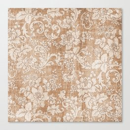 Vintage white brown grunge shabby floral Canvas Print
