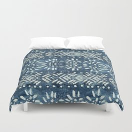 Vintage indigo inspired  flowers and lines Duvet Cover