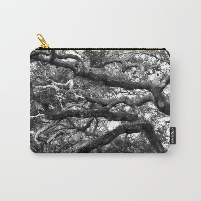 Live Oak Tree - black and white Carry-All Pouch