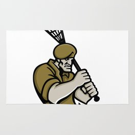 Commando Lacrosse Mascot Rug