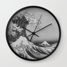 Black & White Japanese Great Wave off Kanagawa by Hokusai Wall Clock