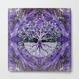 Silver Tree of Life Yggdrasil on Amethyst Geode Metal Print