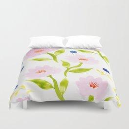 Pink Floral Watercolor Pattern Duvet Cover