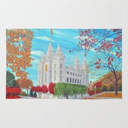 Salt Lake City, Utah LDS Temple in Autumn Rug