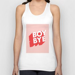 Boy Bye funny poster typography graphic design in red and pink home decor Unisex Tank Top