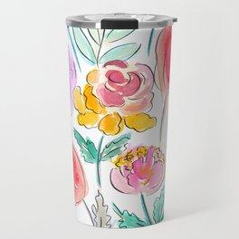 June Watercolor Flowers Travel Mug