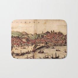 Vintage Pictorial Map of Lisbon Portugal (1572) Bath Mat