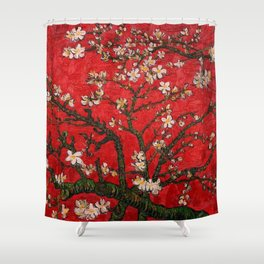 Almond Blossoms Red Vincent Van Gogh Shower Curtain
