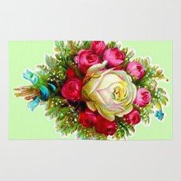 Retro Vintage Rose Bouquet Rug