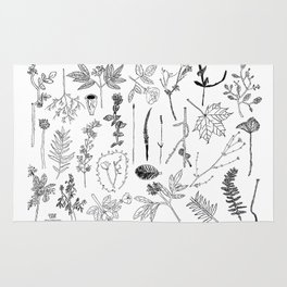 Botanical Drawings by young school kids artists, profits are donated to The Ivy Montessori School Rug