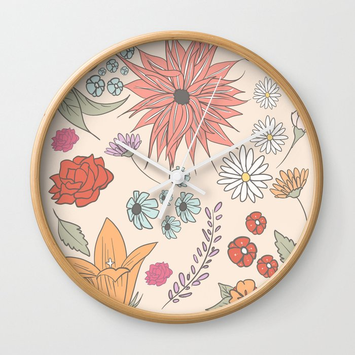 Flower Collage Wall Clock By Goldentrio Society6