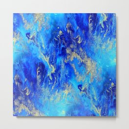 Blue & Gold Abstract d171011 Metal Print