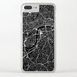 London Black Map Clear iPhone Case