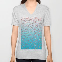 Flamengos in water Unisex V-Neck