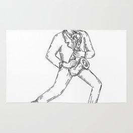 Jazz Musician Playing Saxophone Monoline Rug
