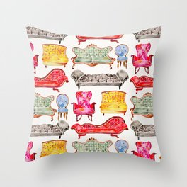 Victorian Lounge – Rainbow Palette Throw Pillow
