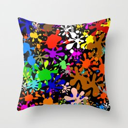 Colourful Fun Paint Blots and Stains Throw Pillow
