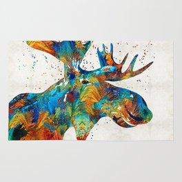 Colorful Moose Art - Confetti - By Sharon Cummings Rug