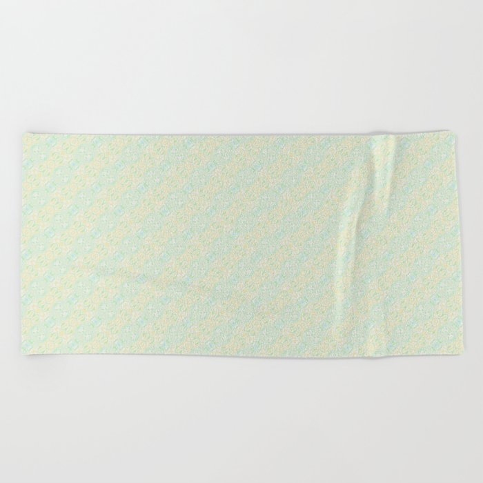 Blue Yellow and Green Pattern 1 Beach Towel