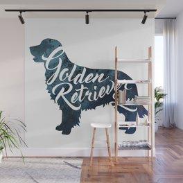 Golden Retriever Luv Blue Watercolor Wall Mural