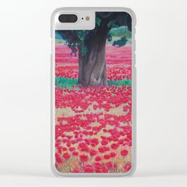 Olive Tree in Poppy Field Clear iPhone Case