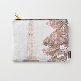 Paris nursery, Blush, Eiffel tower, cherry blossoms Carry-All Pouch