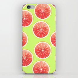 Pink Grapefruit Slices Pattern iPhone Skin