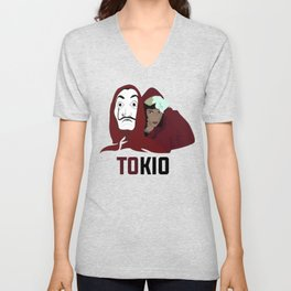 la casa de papel tee shirt TOKIO Unisex V-Neck
