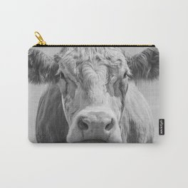 Animal Photography | Cow Portrait Black and White | Farm Animals Carry-All Pouch