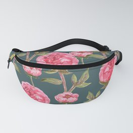 Pink Peonies On Green Background Fanny Pack
