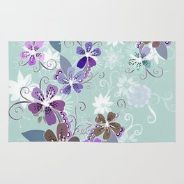 Summer blossom, blue and purple Rug