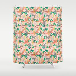 Lemurs in Pink Jungle Shower Curtain