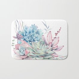 Pretty Pastel Succulents Bath Mat