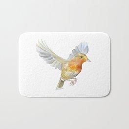 Robin in Flight Watercolor Bath Mat