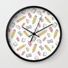 Pencil, eraser, sharpener. Wall Clock