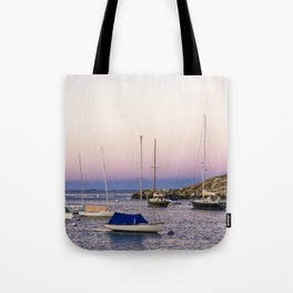 Earth's shadow over the harbor Tote Bag