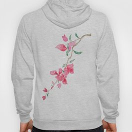 red  pink  bougainvillea watercolor Hoody