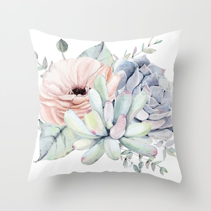 Pretty Succulents by Nature Magick Throw Pillow