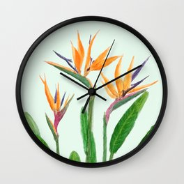 bird of paradise flower painting Wall Clock