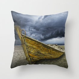 Beached Boat with Storm Brewing Throw Pillow