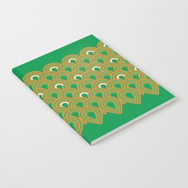 retro sixties inspired fan pattern in green and orange Notebook