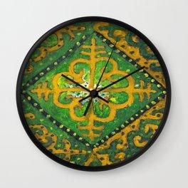 Nomadic Motif 2 Green and yellow. Wall Clock