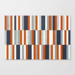 Orange, Navy Blue, Gray / Grey Stripes, Abstract Nautical Maritime Design by Canvas Print