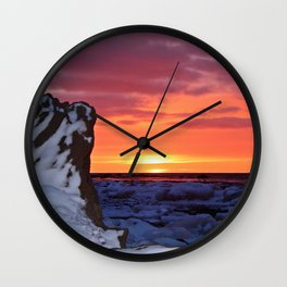 Golden Sunset on Sea and  Snow Wall Clock