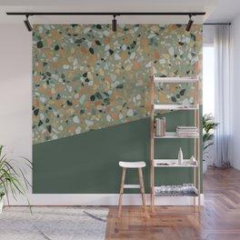 Terrazzo Texture Military Green #4 Wall Mural