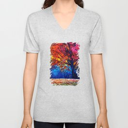 Tardis Tree Art Blossom Unisex V-Neck