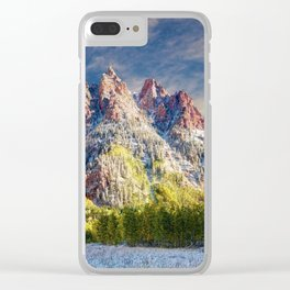 First Snow Maroon Bells Clear iPhone Case